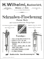 Data sheet for Manual Chain Hoist in the year 1900